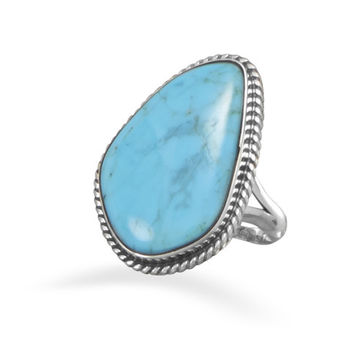 Sterling Silver Ring with a Freeform Turquoise Stone
