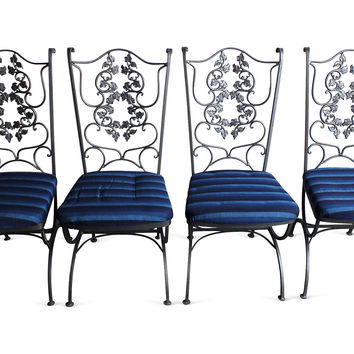 Wrought Iron Ivy-Motif Chairs, S/4