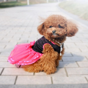 New Pet Dog Tutu Dress Lace Skirt Cat Princess Clothes Party Dress OZ = 1929948548