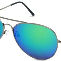 Multi-Colored Mirrored Aviator Sunglasses - Grey Frame with Blue/Green Lenses