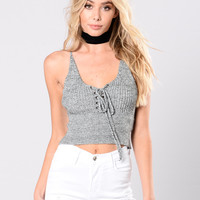 Blue Moon Crop Top - Charcoal