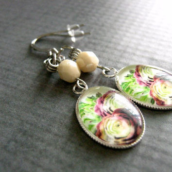 Glass Photo Earrings : Watercolor Cactus Jewelry