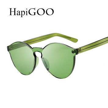 Fashion Candy Color Women Cat Eye Sunglasses Female Shades Integrated Steampunk Sunglasses For Party