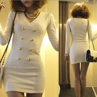 HOT Korean Womens V-neck Long Sleeve Mini Dress Sexy Classicl White Black Slim