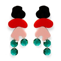 Pop Rock Earrings- Black and Red