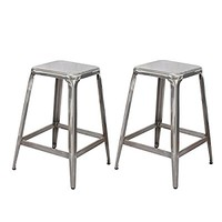 Adeco Metal Stackable Tolix Style Square Top Backless Barstools, Set of 2