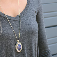 Serendipity Navy Natural Stone Necklace Encased in Rhinestones
