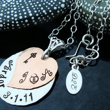 D2E Hand stamped mixed metal Copper and Silver heart Anniversary or Wedding necklace