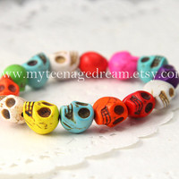 Day of the death Colorful Turquoise skull bracelet