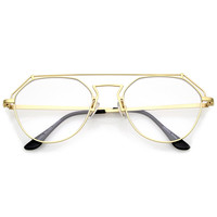 Modern Matte Gold Metal Flat Clear Lens Glasses A953