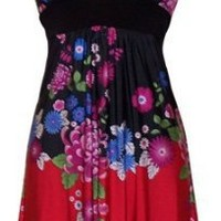 Asian Floral Halter Dress Knee-Length, 5X, Black-Royal-Multi