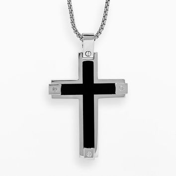 Lynx Stainless Steel Cross Pendant - Men (Grey)