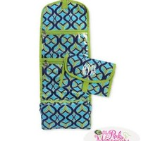 Navy and Lime Twist Monogrammed Accessory Bag