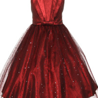 Red Satin & Black Sparkle Tulle Overlay Formal Dress w Pleated & Pinched Bodice (Girls 2T to Size 12)