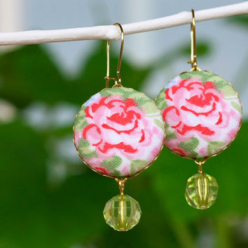 Dangle Earrings - Wild Wild Roses - OOAK Red Pink Flowers with Green Leaves - Fresh Summer Fabric Covered Buttons Earrings