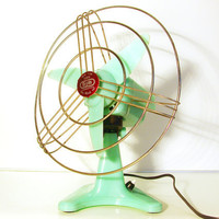 Vintage amazing mint green electric fan - made in Italy by Bjm - 60s