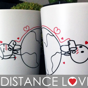 "BoldLoft ""Love Has No Distance"" His and Hers Couple Coffee Mugs,Perfect Valentines Day Gifts for Him and for Her,Long Distance Love Gifts"