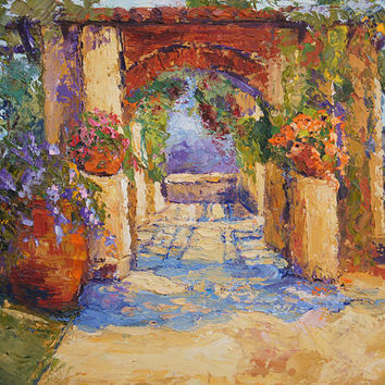 Original oil painting, Monastery Gardens at Cimiez - Impressionist Landscape Knife oil painting by Marion Hedger, 10x12 inch