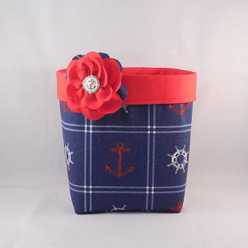 Red, White And Blue Nautical Themed Denim Fabric Basket With Detachable Fabric Flower Pin For Storage Or Gift Giving