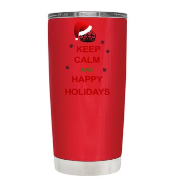 TREK Keep Calm and Happy Holidays on Red 20 oz Tumbler Cup