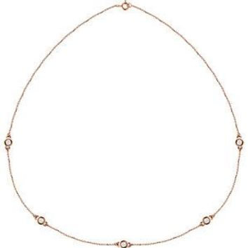 "14K Rose 1 CTW Diamond Bezel 18"" Necklace"