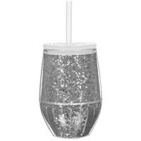 Slant Collections- 10 Oz. Stemless Wine Glass- Silver Glitter