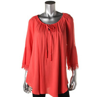 Cable & Gauge Womens Jersey Crochet Trim Blouse