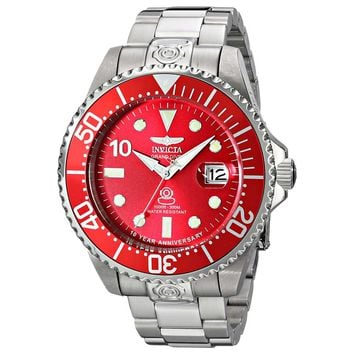 Invicta 16858 Men's Grand Diver Red Dial Steel Bracelet Automatic Dive Watch