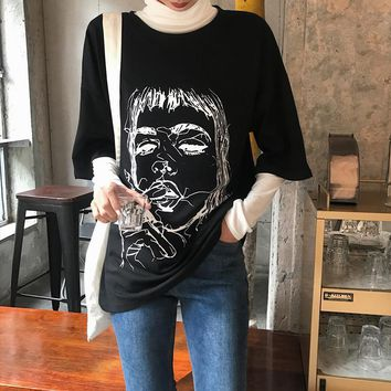 Women Loose Casual Comics Portrait Pattern Print Middle Sleeve T-shirt Top Tee