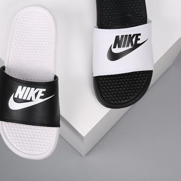 Official 2018 mens Nike Benassi Just Do It Slide 343880 mismatch white-black shoes