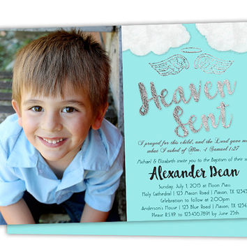 Heaven Sent Baptism Invitation - Blue Boy Baptism Invitations - Photo Baptism Invitations - Printed - Baby Blue and Silver - Angel Religious