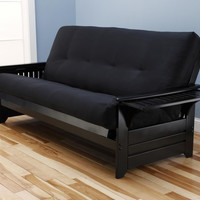 Phoenix Futon Frame in Black Wood with Innerspring Suede Black Mattress