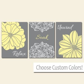 Yellow Gray BATHROOM DECOR. WALL Art, Canvas or Print Flower  Bathroom Pictures, Relax Soak Unwind, Quote Words Flower Decor, Set of 3
