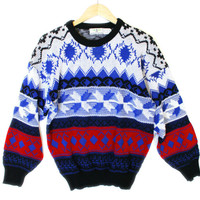 Vintage 80s Red White and Blah Tacky Ugly Ski / Christmas Sweater