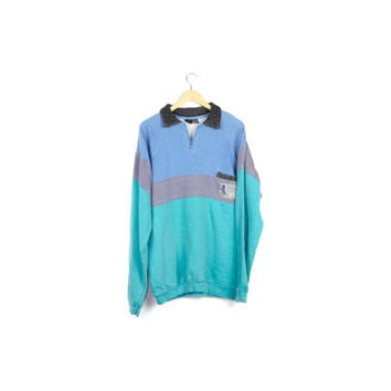 90s GOTCHA pastel color block sweatshirt / fleece lined polo shirt sweater / vintage 1990s / vapowave / surf / grunge / faded / mens large