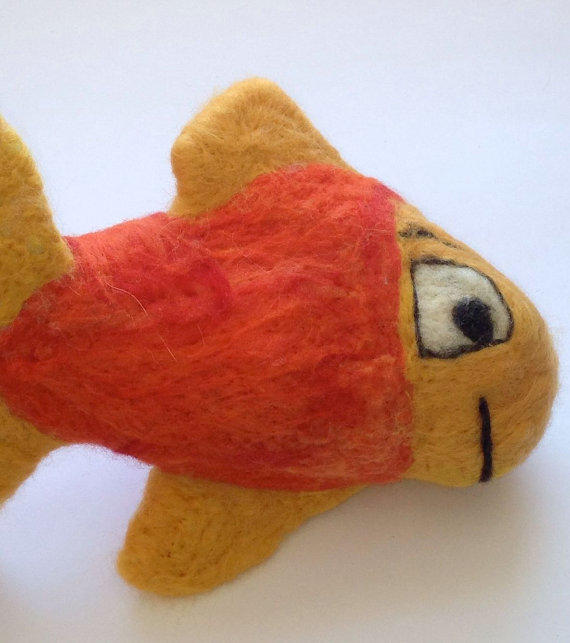 Needle felted wool toy fish toy for kids