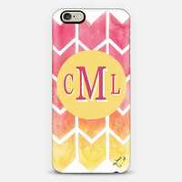 Pink Yellow Bars Custom Slim Phone Case with Initials