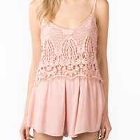 Crocheted lace romper