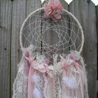 Lace Dream Catcher Pink White and Lavender Vintage Lace Fabrics Feathers Wedding Decor Baby Mobile Home Decor