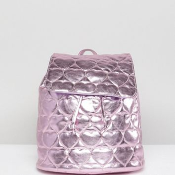 Lazy Oaf Pink Metallic Quilted Heart Backpack at asos.com