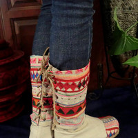Tribal Embroidered & Appliquéd Natural Woven Cotton Back Lace Vegan Boots, Size 8 - 12