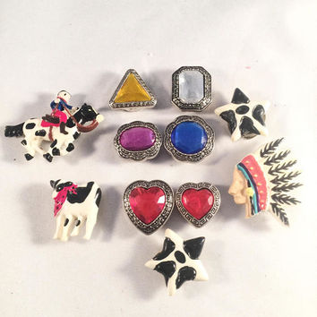 Lot Of Eleven Vintage Button Covers, Jewel Tones, Western Theme, Cow Theme, Crafting Lot