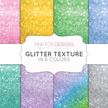 Colored Bokeh Glitter Digital Scrapbooking Paper 8 Printable Sheets Digital Download gold glitter rainbow silver