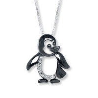 Penguin Necklace Diamond Accents Sterling Silver