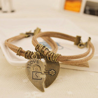 Love You Heart to Heart Couple Bracelets