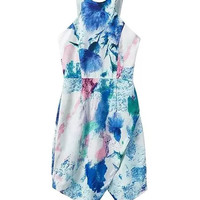 Asymmetric Printed Sleeveless Sheath Mini Dress