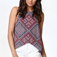 Kendall & Kylie Racerback Tulip Tank Top - Womens Shirts - Allover Print