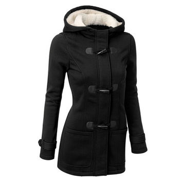 Autumn Winter Women Thick Wool Coat Hoodie Jacket Parka Trench Peacoat Double Breasted Warm Clothes 4 Colors YP4