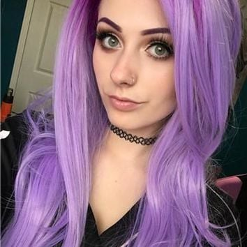 Colorful Graduated Lavender Purple Straight Long Synthetic Lace Front Wig