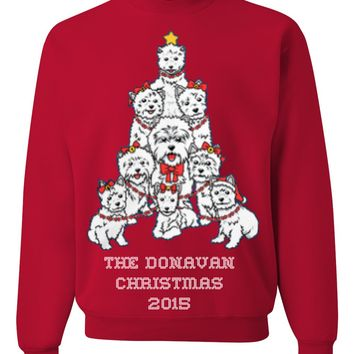 Family Name Personalized Westies Fun & Ugly Christmas Sweater For The Holiday Season 2015 - Great Gift For Westie Dog Lovers